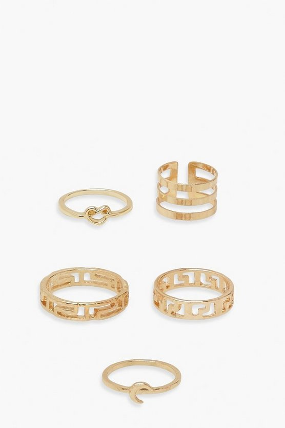 Womens 5Er-Pack Ring-Set - Gold - One Size