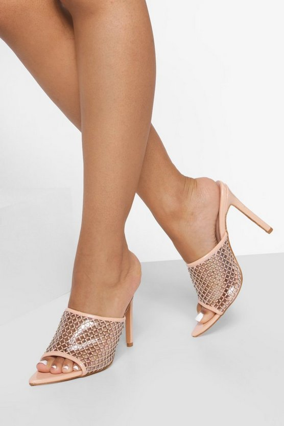 Womens Spitze Mules Mit Strass - Nude - 39