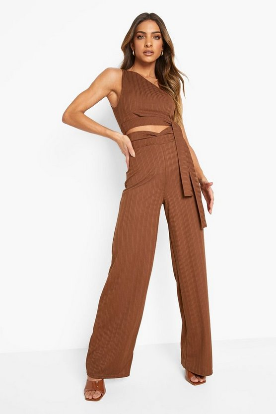 Womens Recyceltes Geripptes Cut-Out Co-Ord - Chocolate - 32