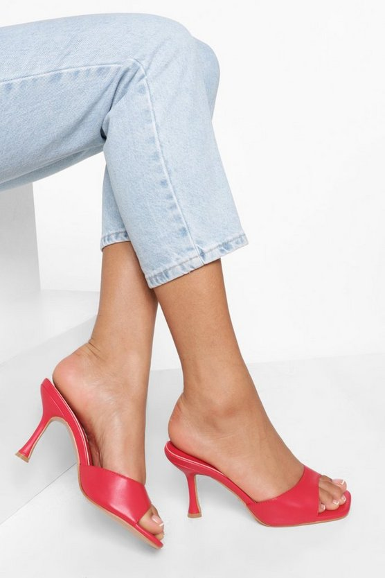 Womens Eckige Mules - Red - 41