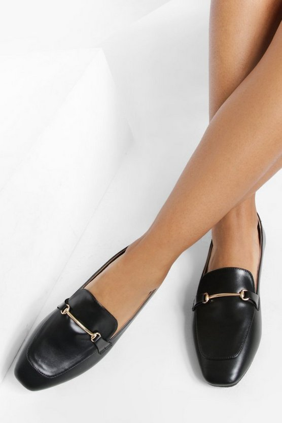 Womens Loafers Mit Gold-Detail - Black - 41