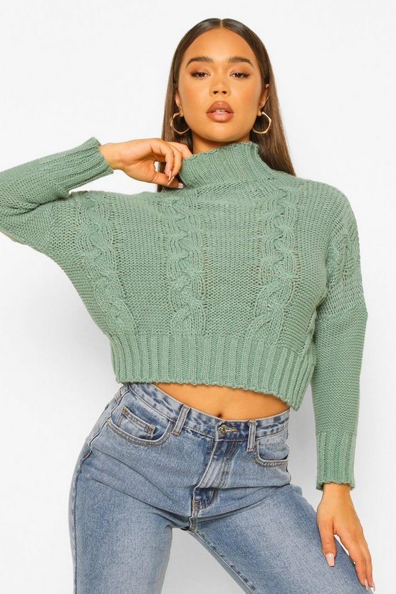 Womens High Neck Cable Crop Jumper - Sage - M/L