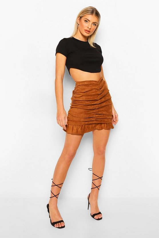 Womens Suedette Ruched Mini Skirt - Camel - M