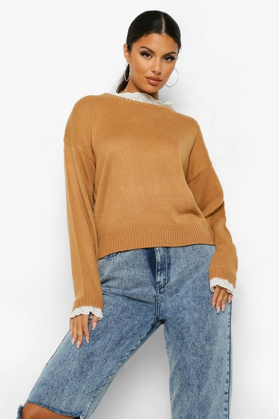 Womens Lace Detail Crew Neck Jumper - Camel - M