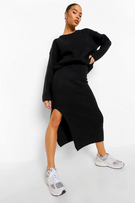 Womens Knitted Maxi Skirt Co-Ord - Black - M