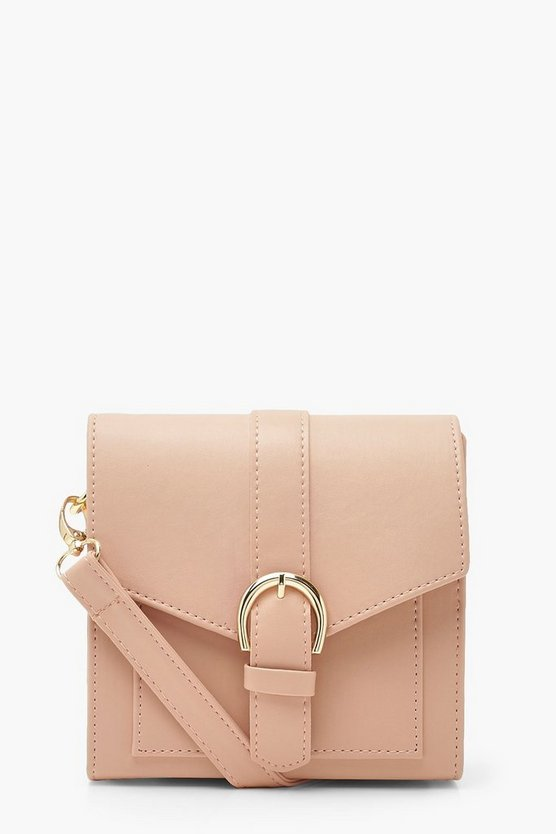 Womens Schlichte Cross-Body Mit Schnalle - Blassrosa - One Size