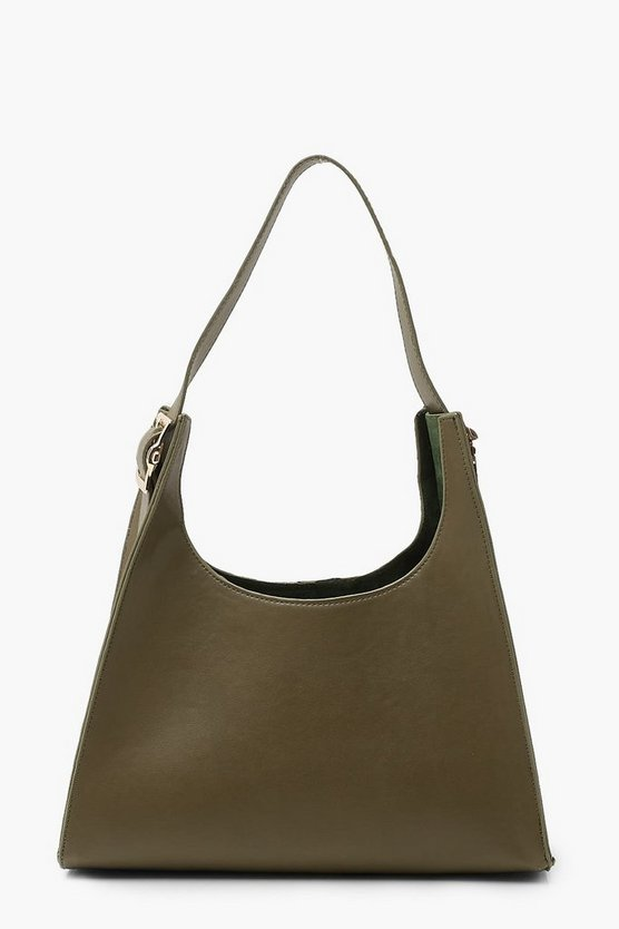 Womens Tote Bag In Pyramidenform Aus Weichem Pu - Khaki - One Size