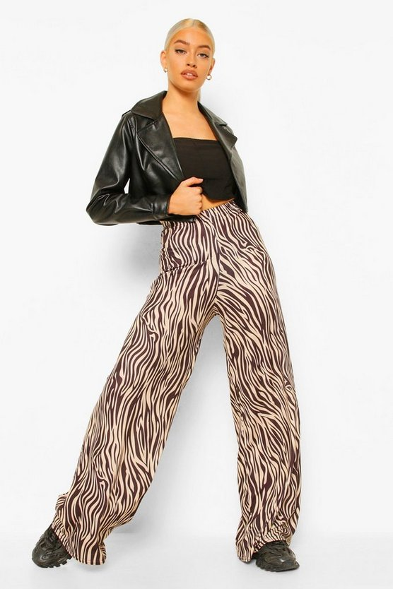 Womens Tonal Tiger Jersey Wide Leg Trousers - Brown - 42