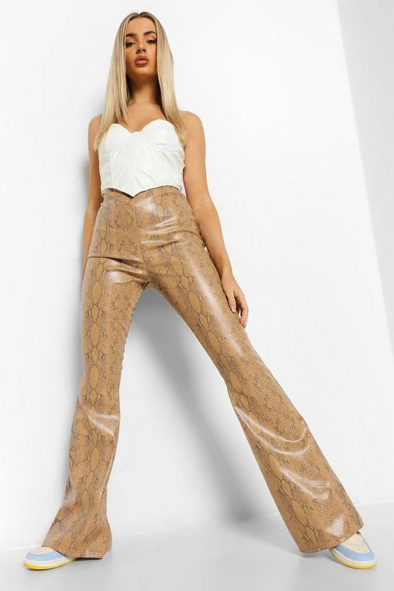 Womens Tonal Snake Leather Look Pu Wide Leg Trouser - Stone - 42