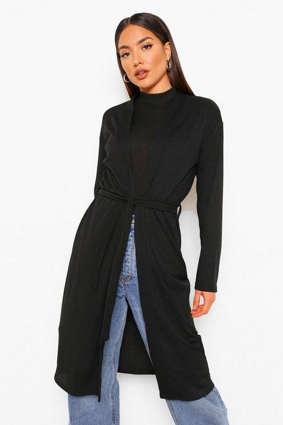 Womens Longline Fitted Belted Cardigan - Black - 44