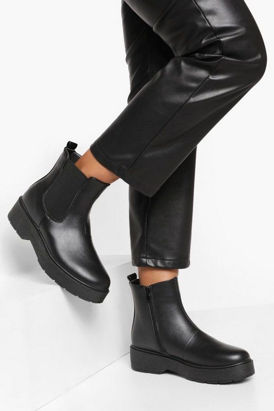 Womens Gdressing Gown Chelsea-Boots Mit Plateausohle - Schwarz - 40