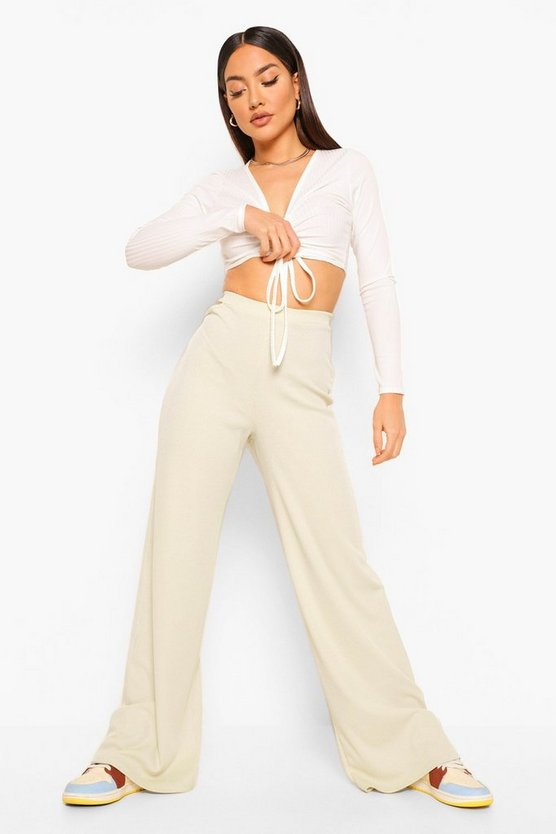 Womens Cut Out Wide Leg Trouser - Stone - 42