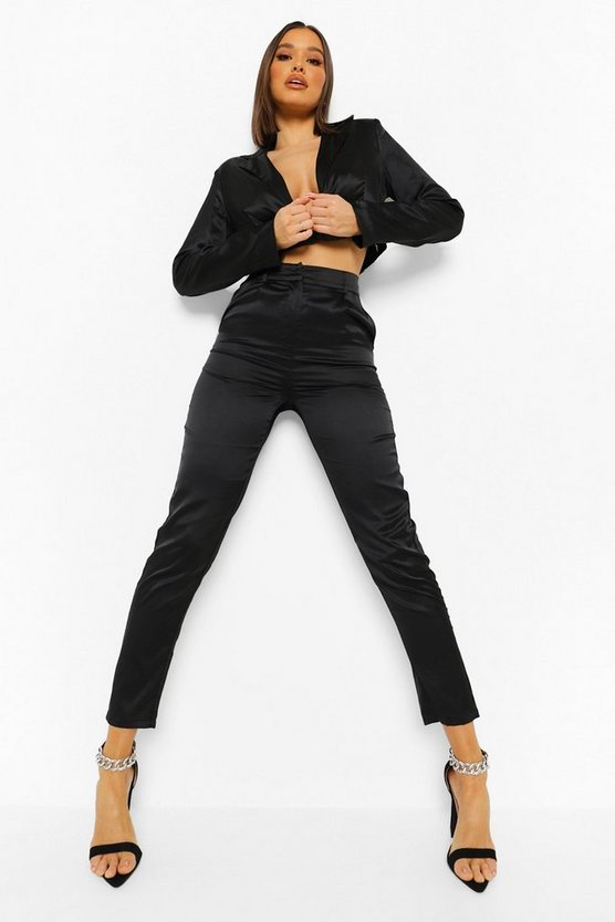 Womens Tailored Tapered Satin Trouser - Black - 36