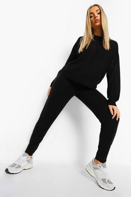 Womens Knitted Tracksuit - Black - M