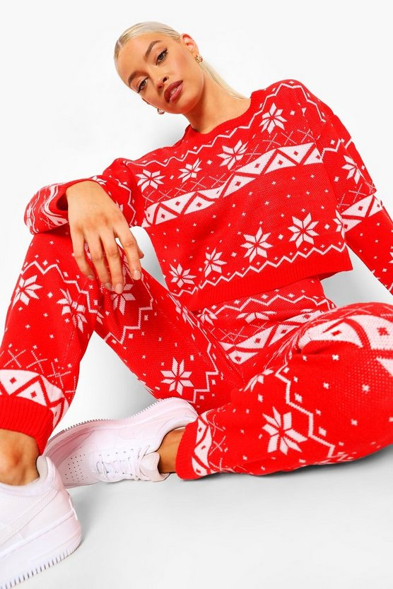 Womens Fairisle Knitted Christmas Co-Ord - Red - M