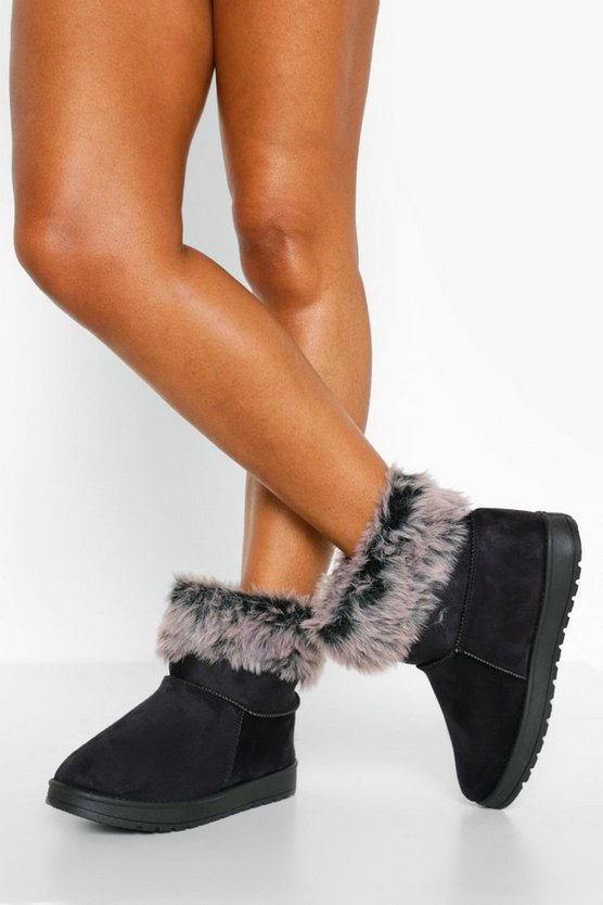 Womens Cosy Ankle Boots - Black - 41