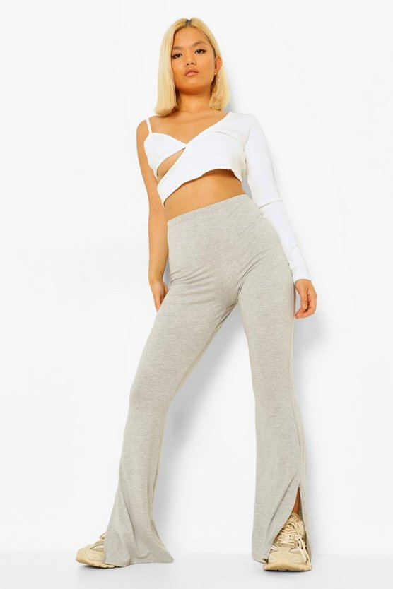 Womens Petite Basic Split Hem Flare - Grey - 40