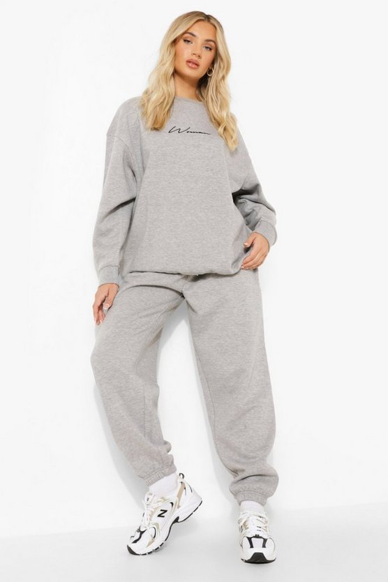 Womens Basic Oversized-Jogginghose - Grau Meliert - 36