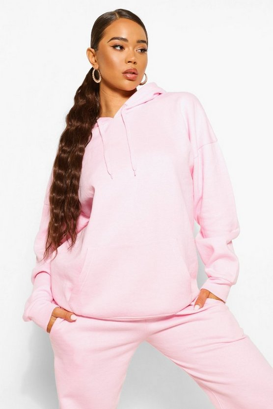 Womens Basic Oversized-Hoodie - Pale Pink - 36