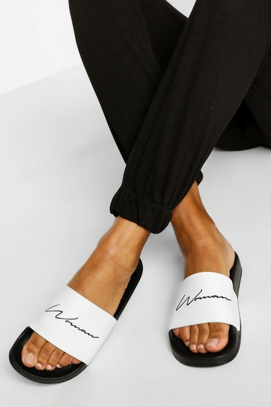 "Womens Slides Mit ""Woman""-Slogan - Schwarz - 39"