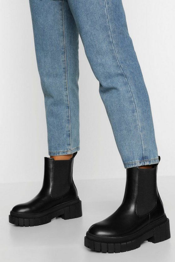 Womens Chelsea-Boots Mit Robuster Sohle - Schwarz - 41