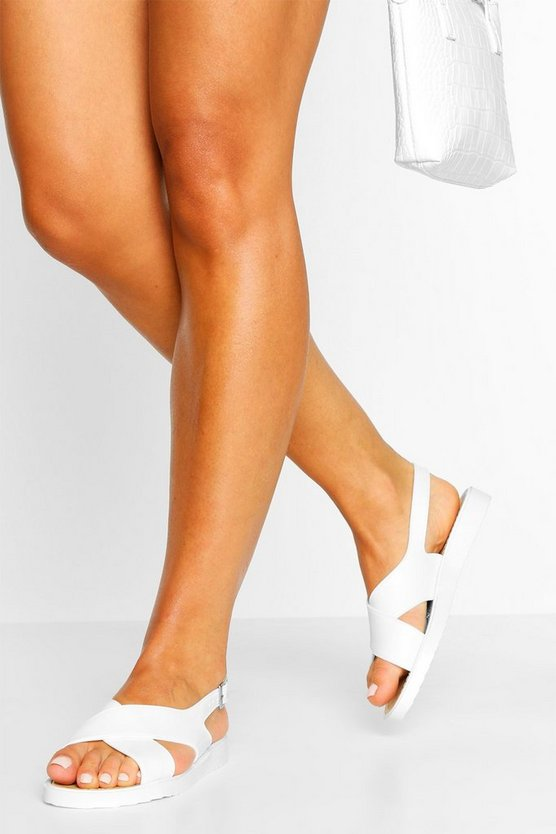 Womens Jelly Cross Strap Sandals - White - 39