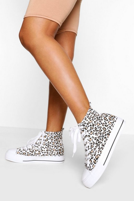 Womens High-Top Canvas-Sneaker Mit Leopardenmuster - 39