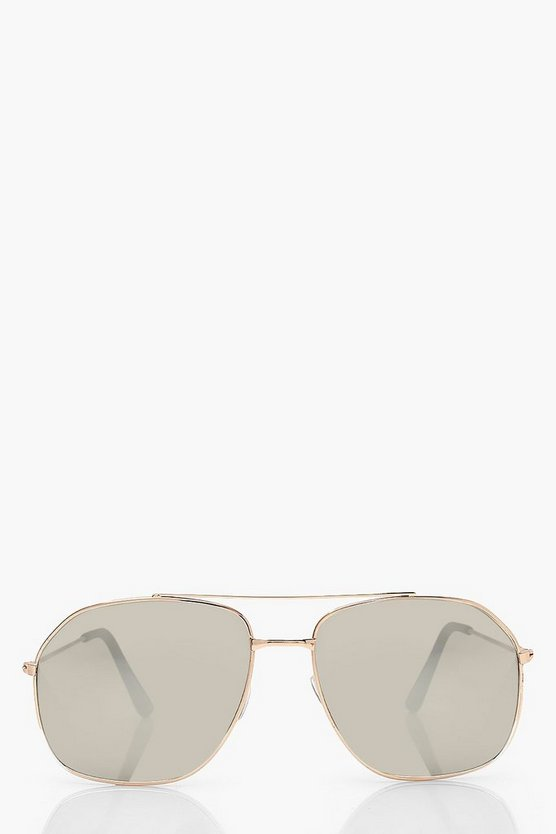Womens Getönte Aviator-Sonnenbrille - Gold - One Size