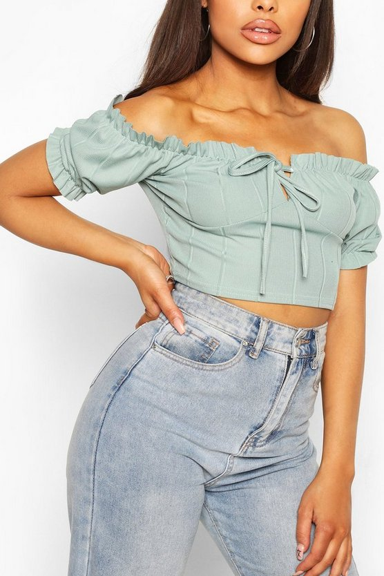 Womens Bandagen-Crop Top Im Country-Stil - Salbeigrün - 40