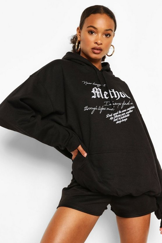 "Womens Oversized-Hoodie Mit ""Method""-Slogan - Schwarz - L"