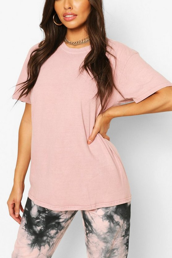 Womens Oversized T-Shirt In Washed-Optik - Butterscotch - S