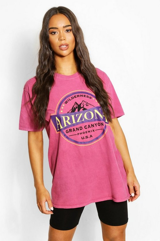 "Womens T-Shirt Mit Washed-Effekt Und ""Arizona""-Slogan - Himbeerrot - L"