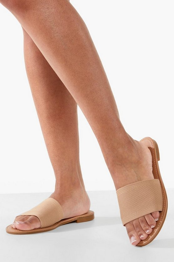 Womens Slides In Strick-Optik - Mokkabraun - 41
