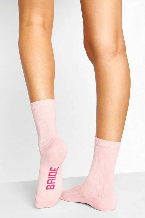 "Womens Gerippte Socken Mit ""Bride To Be""-Slogan - Rosa - One Size"