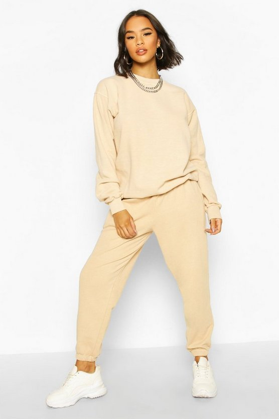 Womens Oversized Jogginghose Mit Waschung - Sand - M
