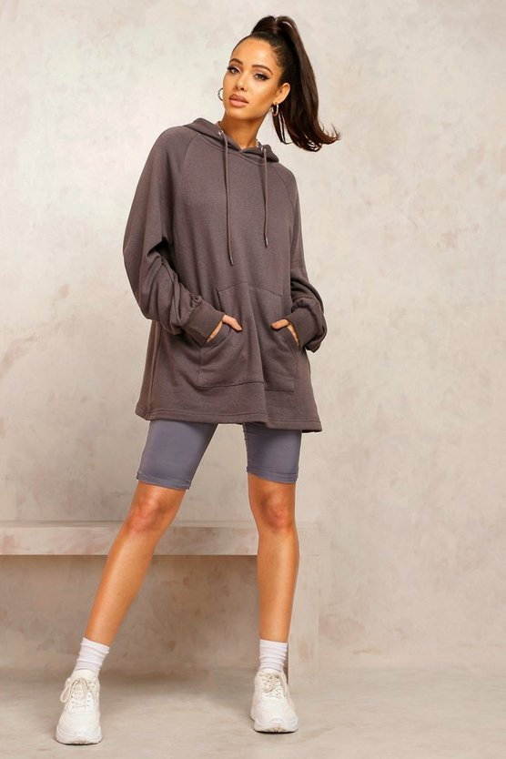 Womens Mix And Match Edition Longline-Hoodie - Washed Black - Xl
