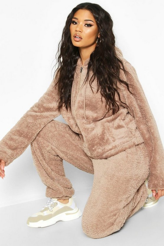 Womens Oversized Jogginghose Aus Borg - Taupe - Xl