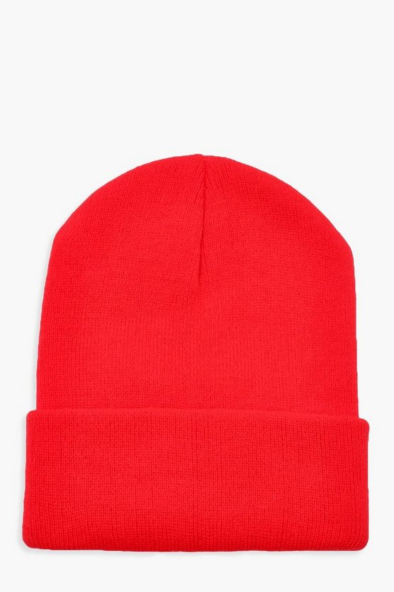 Womens Basic Beanie Aus Strick - Rot - One Size