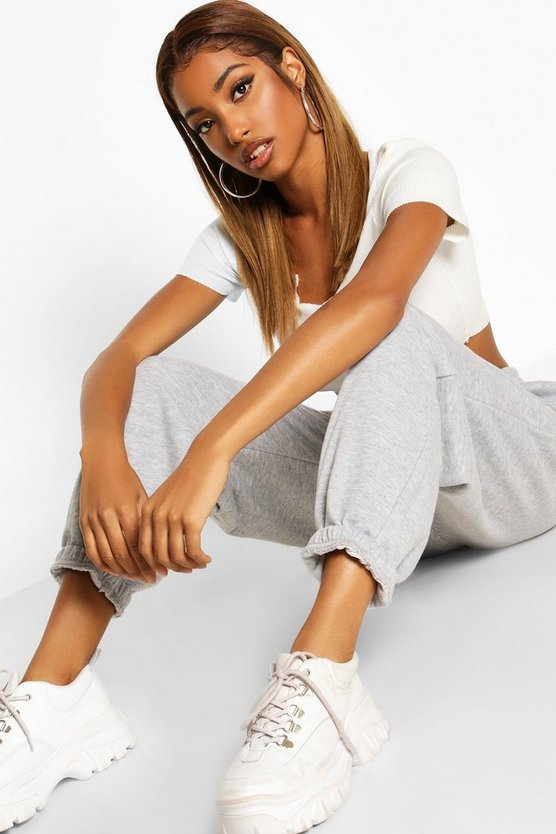 Womens Oversized Sweat-Jogginghose - Grau Meliert - 42