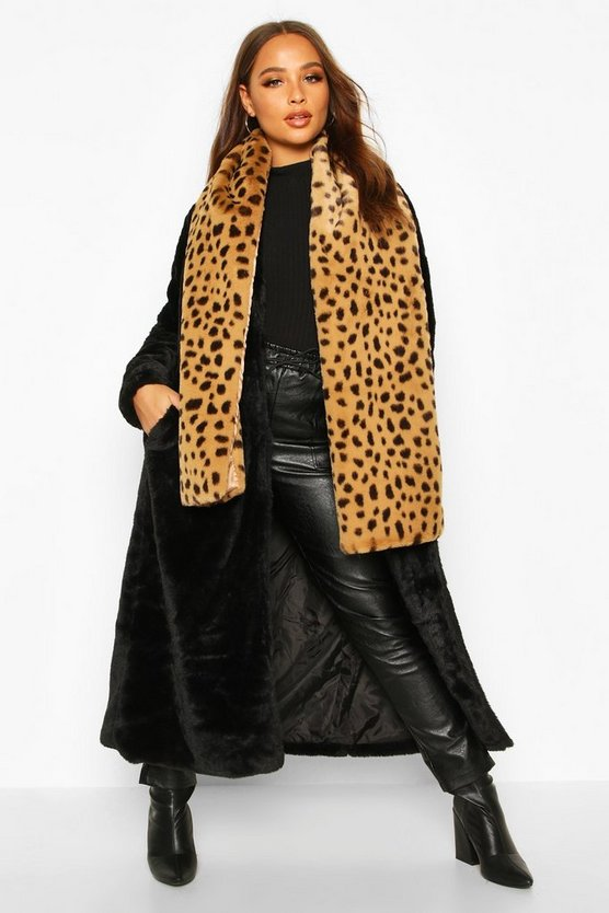Womens Oversized Schal Aus Fake-Fur Mit Leopardenmuster - Braun - One Size