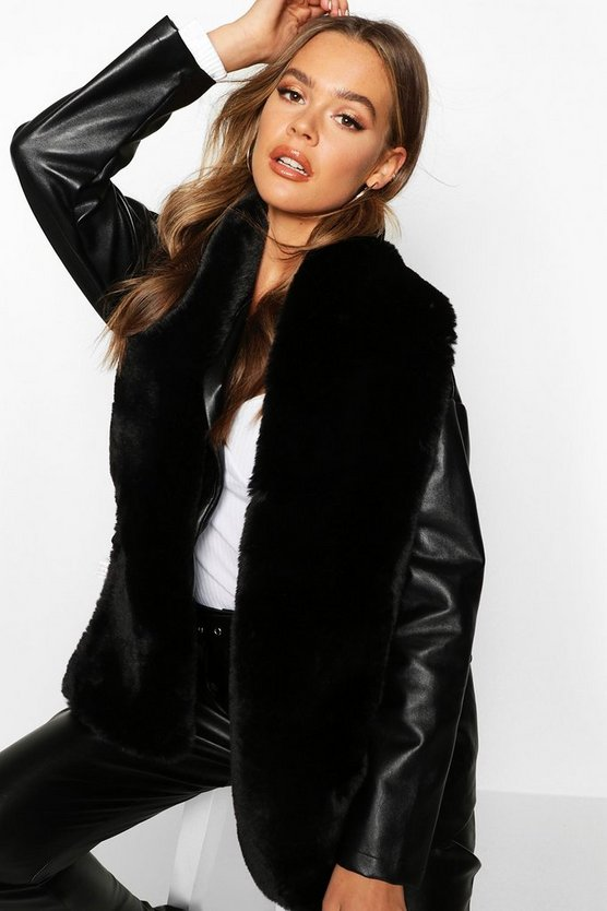 Womens Langer Schal Aus Fake-Fur - Schwarz - One Size