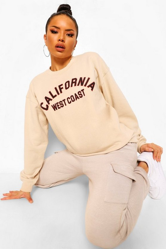 "Womens Oversized Sweatshirt Mit ""California""-Slogan - Naturfarben - Xl"