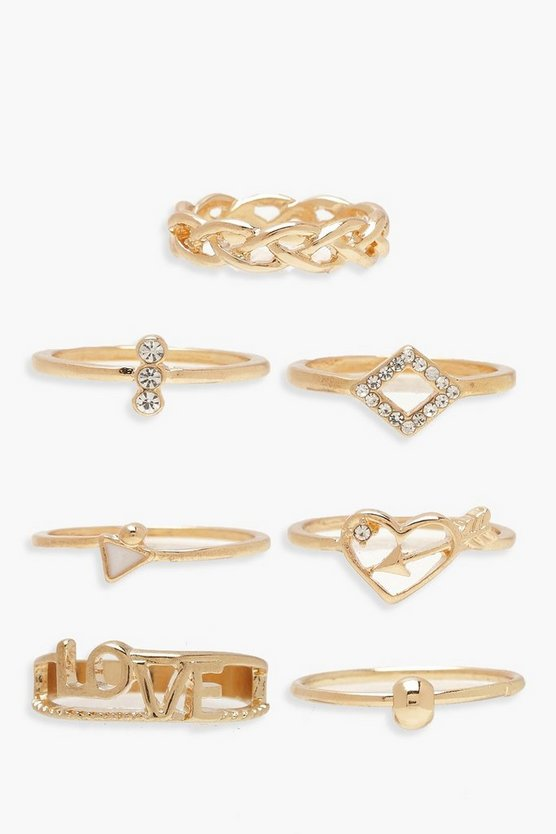 Womens Love Ringe - Gold - One Size