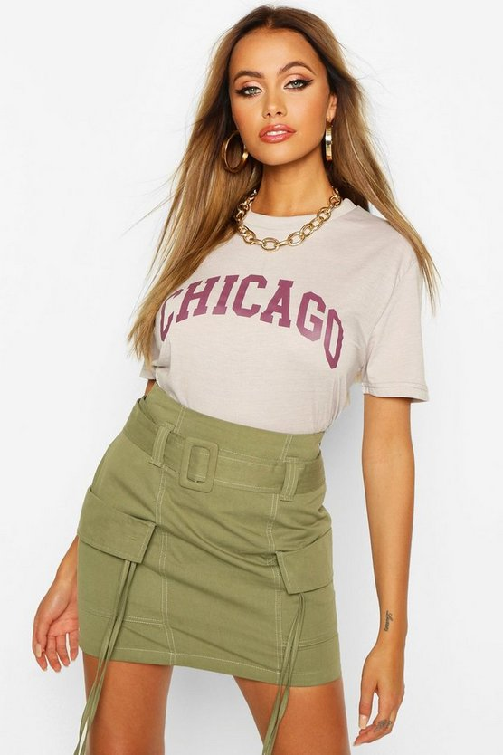 Womens Oversized-T-Shirt Mit Chicago-Slogan - Grau - M