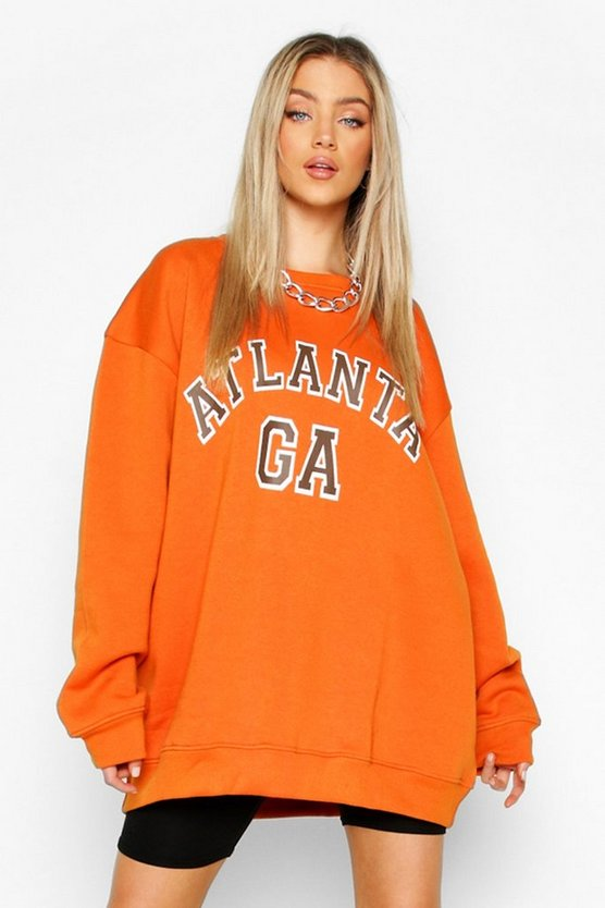 "Womens Oversized Pullover ""Atlanta"" - Burnt Orange - S"