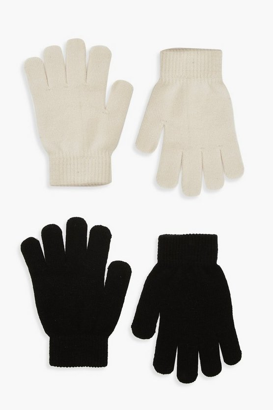 Womens 2Er-Pack Magic Gloves - Creme - One Size