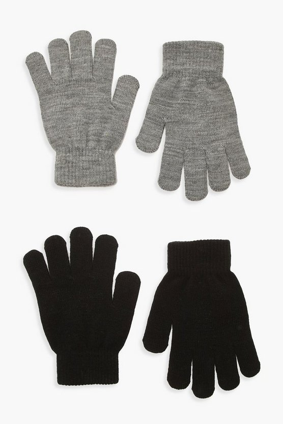 Womens 2Er-Pack Magic Gloves - Grau - One Size