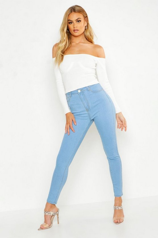 Womens Skinny Jeans Mit Hoher Taille - Hellblau - 36