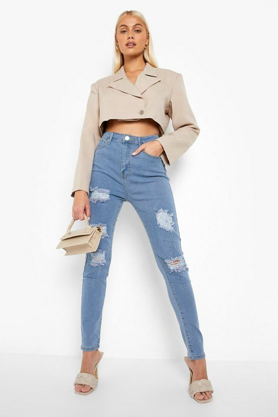 Womens Skinny Jeans In Extremer Used-Optik Mit Hoher Taille - Hellblau - 42