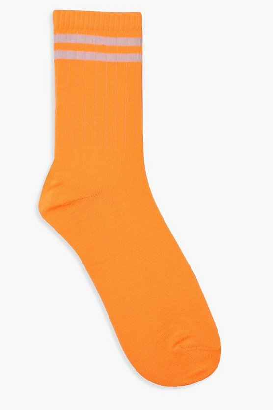 Womens Sportsocken Mit Neonfarbenen Streifen - Orange - One Size